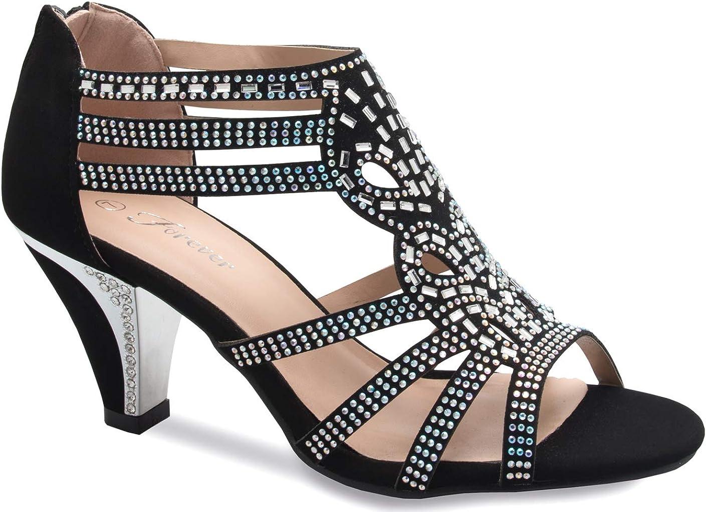 Women Evening Dress Shoes Rhinestones High Heels Platform Wedding Black Kimi-25