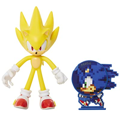 "Sonic The Hedgehog Collectible Super Sonic 4"" Bendable Flexible Action Figure with Bendable Limbs & Spinable Friend Disk Accessory Perfect For Kids & Collectors Alike for Ages 3+ (400574): Toys & Games"