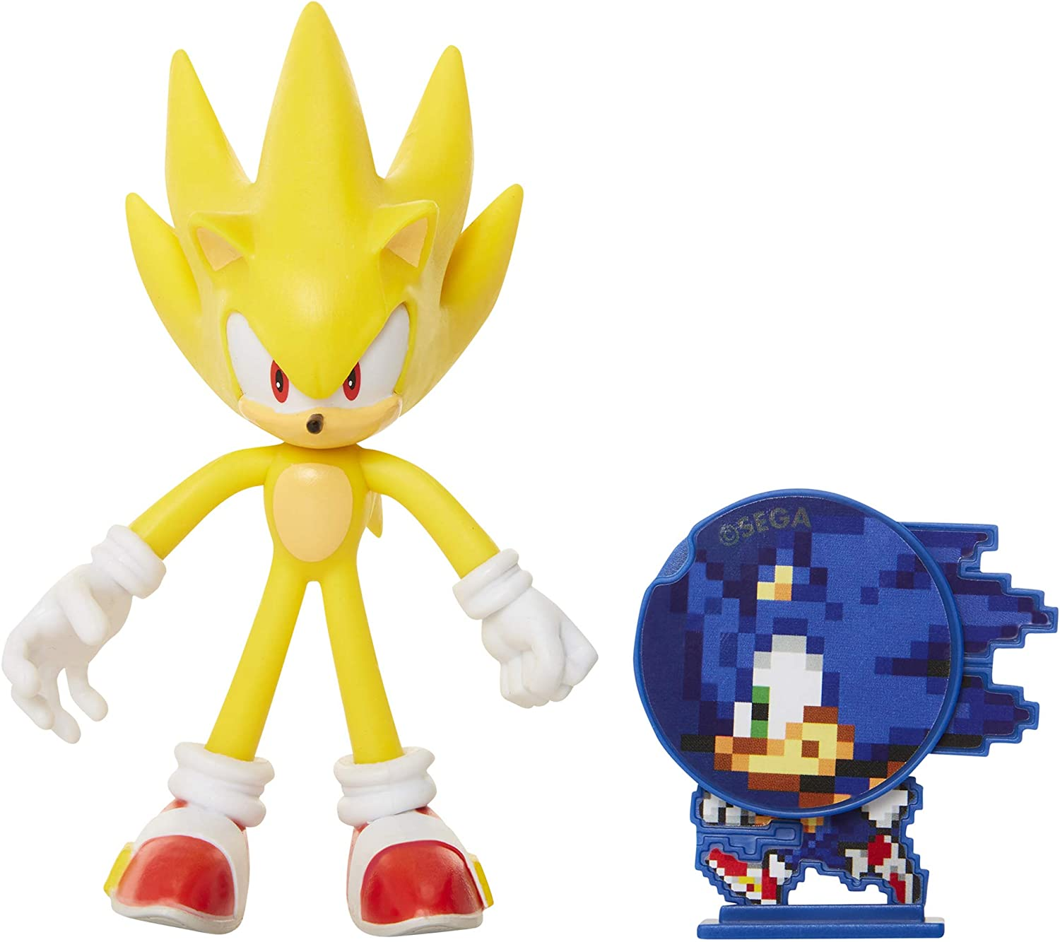 Amazon Com Sonic The Hedgehog Collectible Super Sonic 4 Bendable Flexible Action Figure With Bendable Limbs Spinable Friend Disk Accessory Perfect For Kids Collectors Alike For Ages 3 400574 Toys