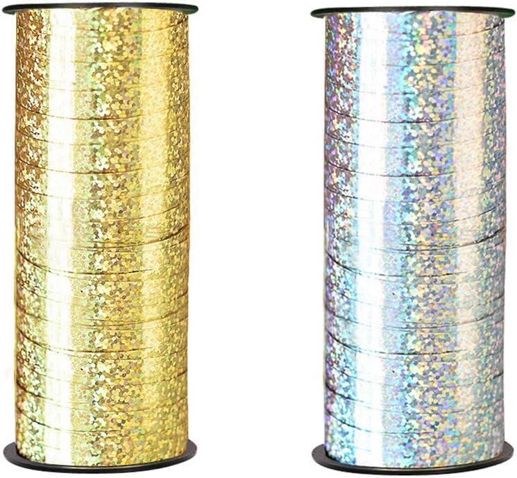 Golden y plata toymy Toy 2/unidades regalo de banda cinta para regalos Curling Ribbon para Fiesta Festival artesan/ía 100/Yard