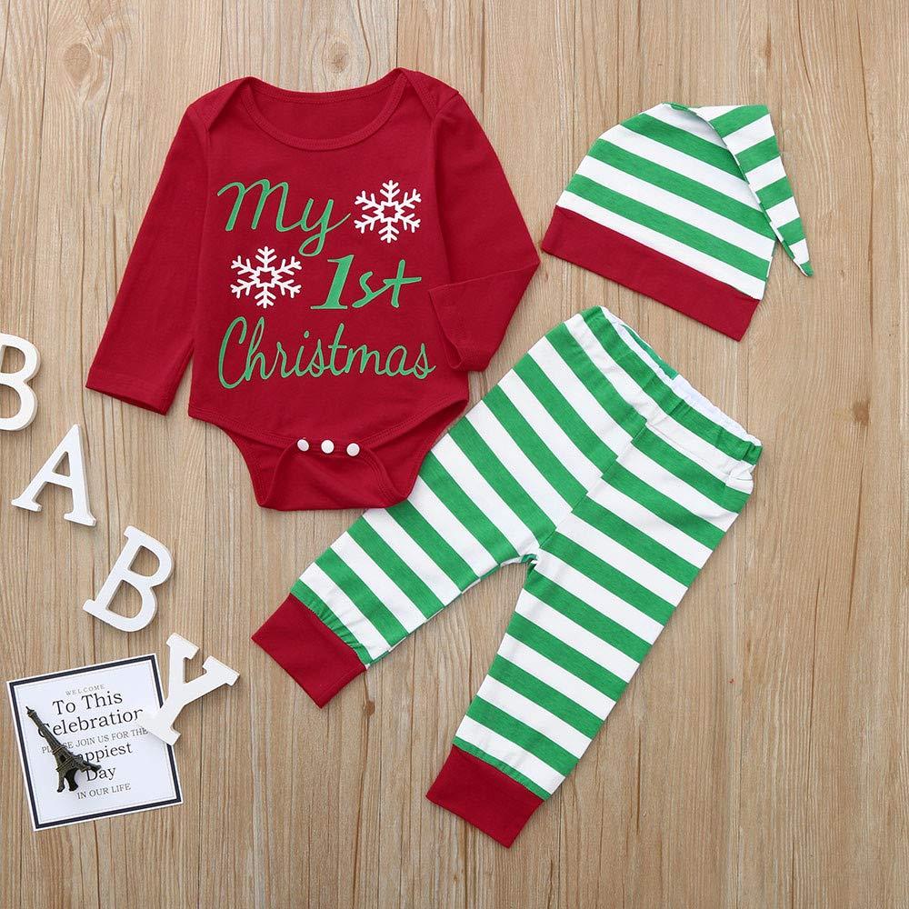Jimmackey Neonato Unisex Pagliaccetto Infantile Cappelli di Natale Stampa Tutine Body Bambino da 6 A 24 Mesi