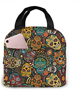 antspuent Mexican Sugar Skulls Insulated Lunchbox ¡ª Thermal Lunch Tote Bag ¡ªWater Resistant Lunch Box & Food Container ¡ª Great for Travel, Outdoors, Work & More ¡ª Food Storage Cooler