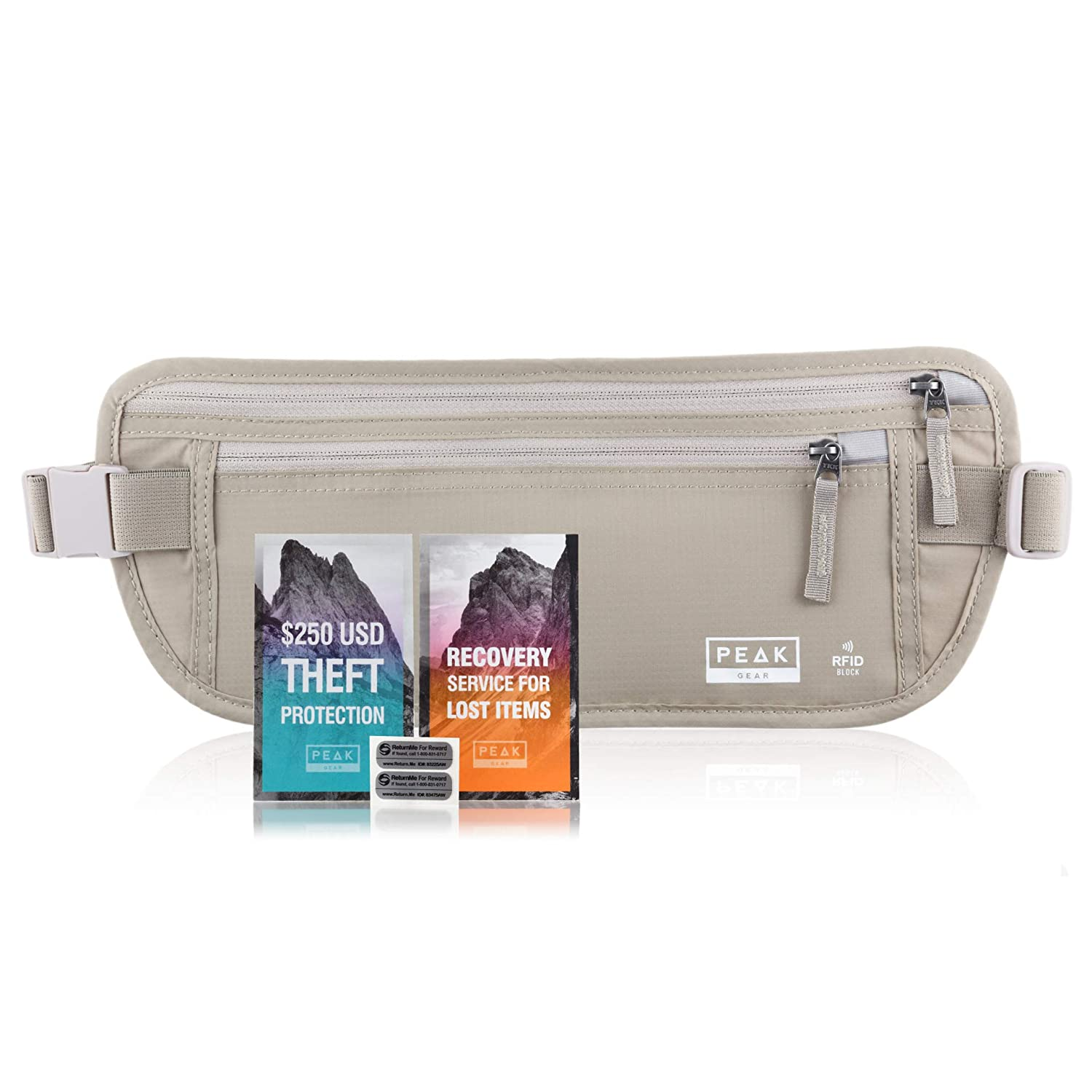 964af6c5e865 Travel Money Belt with RFID Block - Theft Protection and Global Recovery  Tags (Beige REG - fits most)