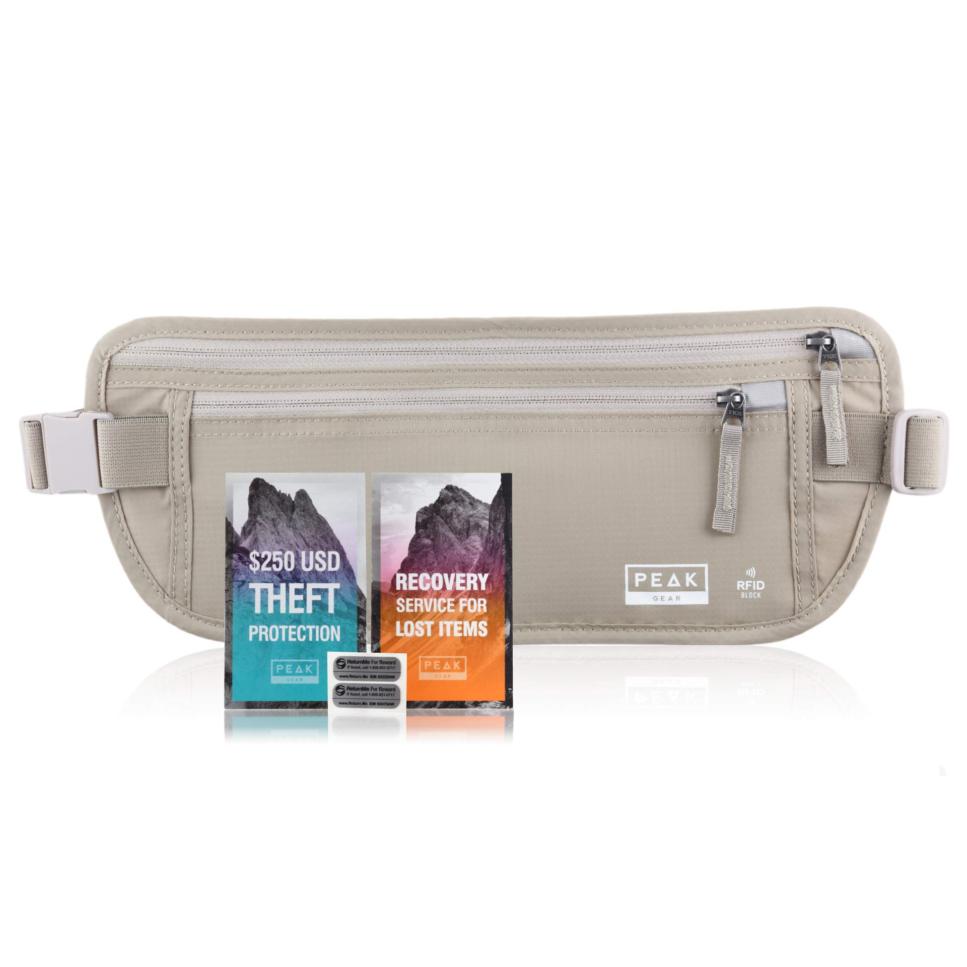 Travel Money Belt with RFID Block - Theft Protection and Global Recovery Tags (Beige REG - fits most) by Peak Gear