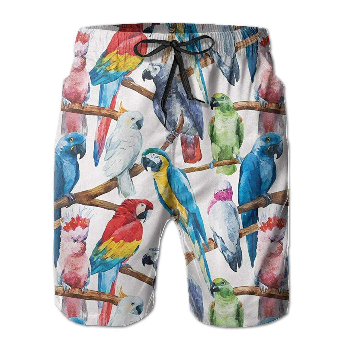 Bilybily Colorful Parrots On Tree Branches Mens Swim Trunks Quick Dry Board Shorts with Pockets Summer Beach Shorts