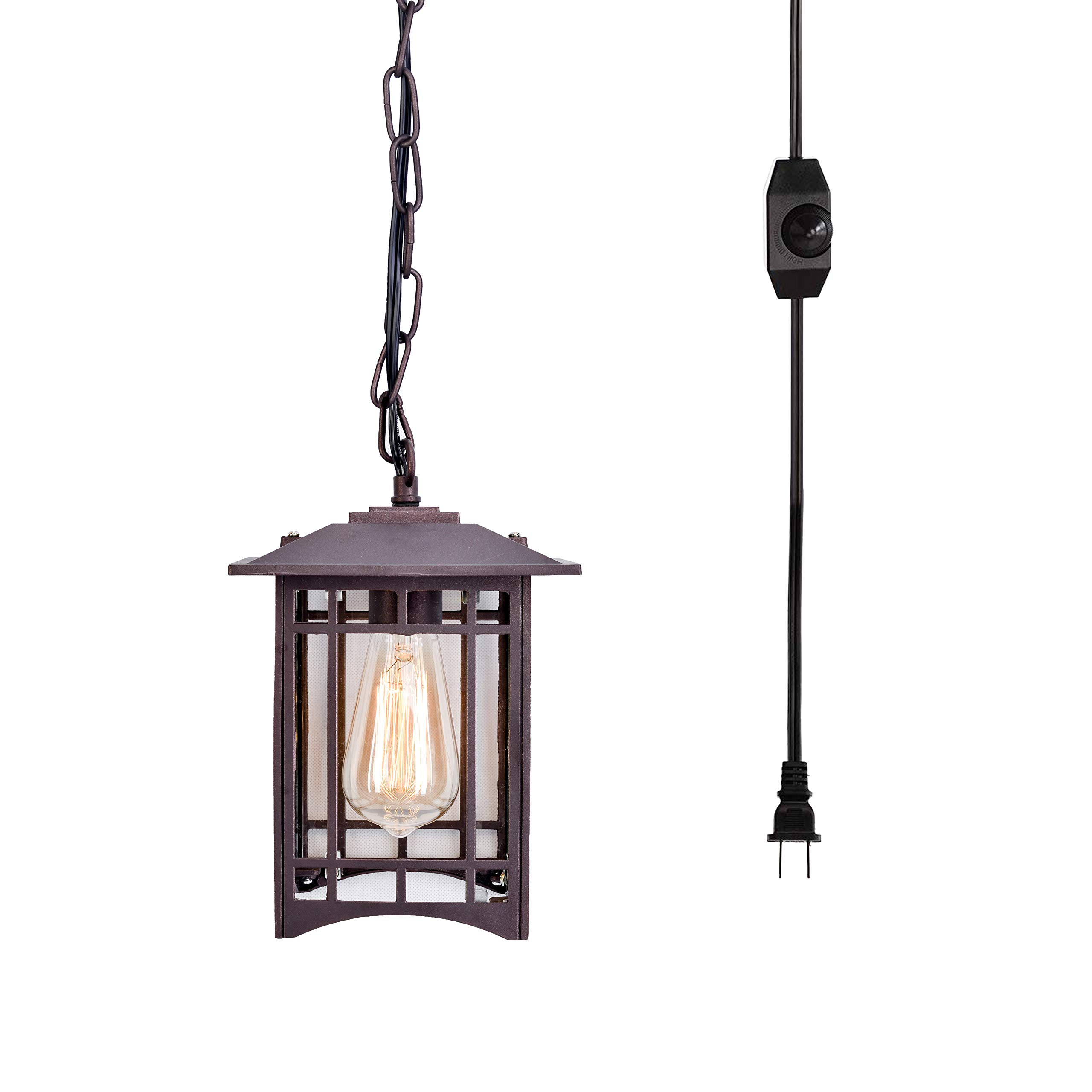 Stepeak Industrial Plug in Pendant Hanging Light with 16.4' Cord Dimmer On/Off Switch, Rustic Vintage Lantern Lamp for Porch Farmhouse Patio Garage by Stepeak