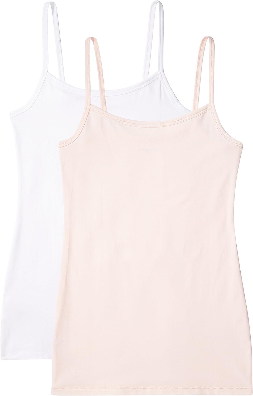 Pack de 2 Marca IRIS /& LILLY Camiseta de Tirantes Body Natural para Mujer