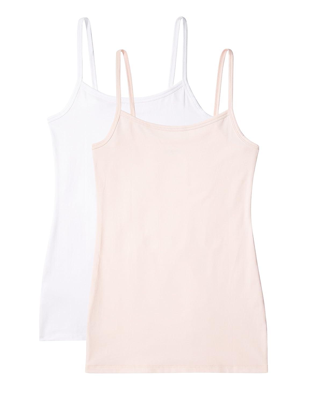 Pack de 2 IRIS /& LILLY Camiseta de Tirantes Body Natural para Mujer X-Large 1 x Blanco /& 1 x Rosa Claro