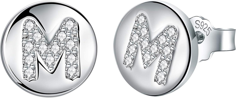 J.Endéar Pendientes Mujer Forma de Inicial A ~ Z, Plata de Ley 925 Con Zirconia Cúbico Alfabeto Pequeño Disco Redondo Para Joyería