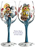 Bottom's Up 15-Ounce Fashionistas Handpainted Wine Glass