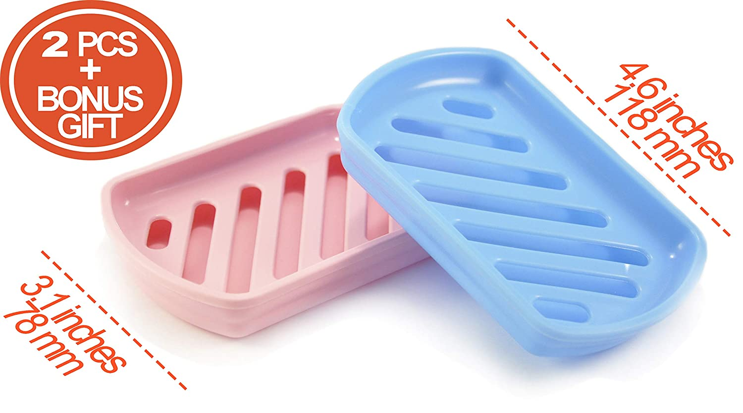 MHH 1003333 Soap dish trays 2 pcs with drain compact design for kitchen scrubber brush holder for soap bar bath sponge bathroom rose//blue soap saver /& dry tray simple two-layer drainer sink