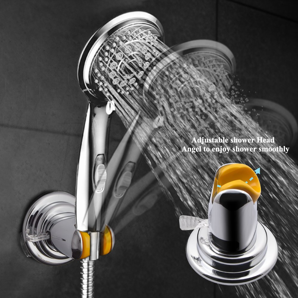 Shower head holder Vacuum Suction Cup, abtong Shower Holder No Drill Handheld Shower Head Bracket Mounted,Removable and Adjustable Heavy Duty Moistureproof waterproof Reusable Chrome Finish