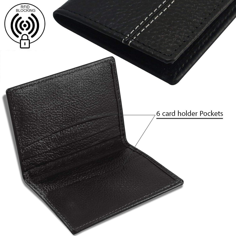 b17cba3be98a Men's RFID Blocking Real Leather Black Credit Card Holder, ID Holder,Slim  Wallet,Card Case (Black): Amazon.co.uk: Luggage