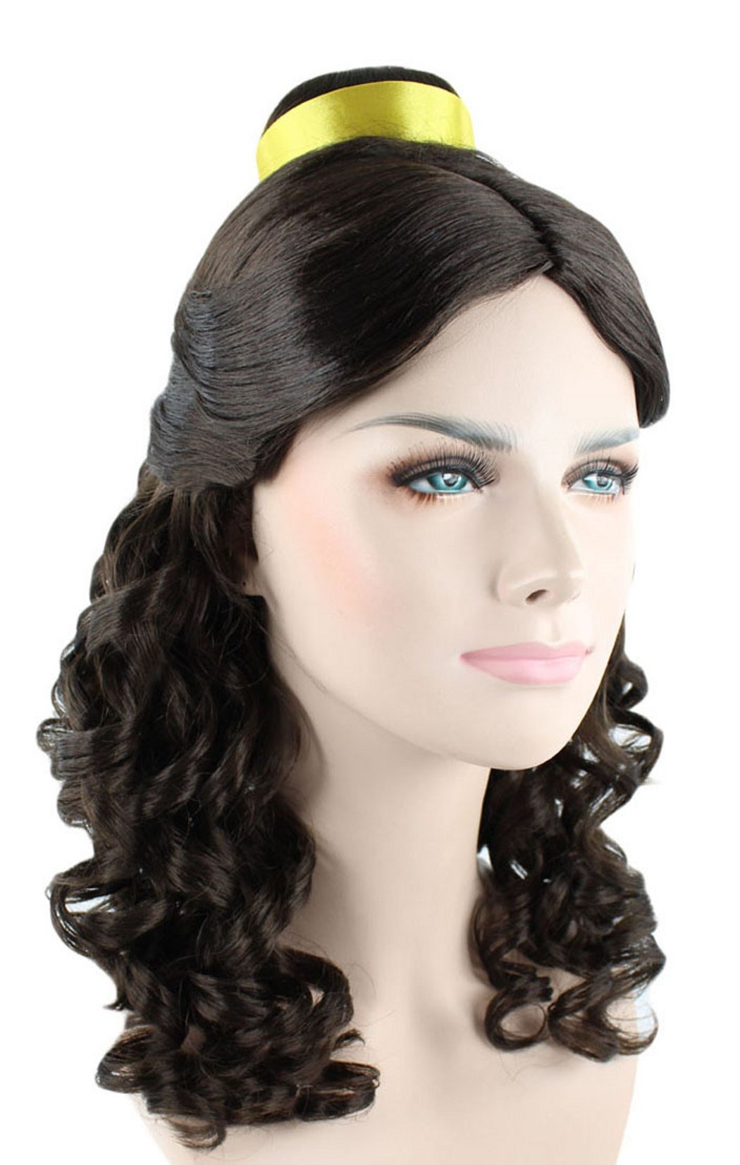 Princess Belle Wig Long Curly Wave Hair with Ribbon for Cosplay Costume Party Dress up Halloween (Dark Brown)