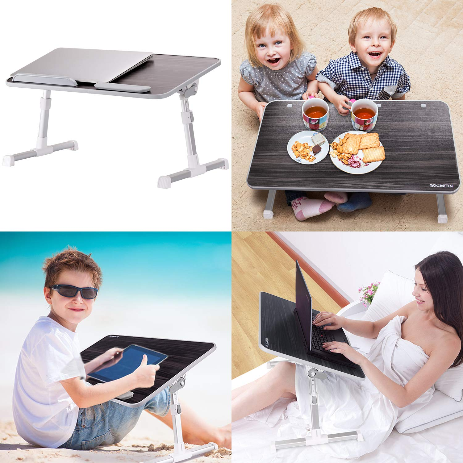 Portable Standing Table with Foldable Legs, Foldable Lap Tablet Table for Sofa Couch Floor - Medium Size