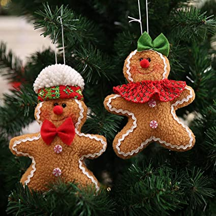 big head gingerbread manboygirl cookie christmas tree ornamentsglittery resin decorations