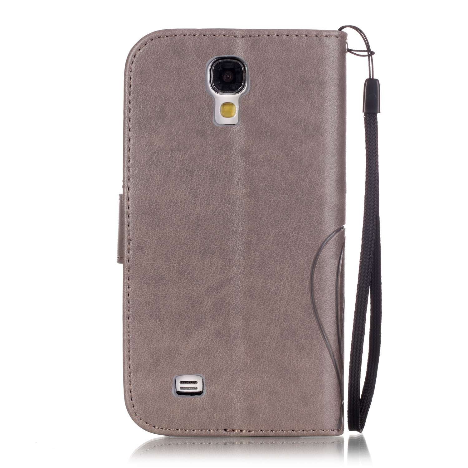 Galaxy S4 Mini Case,Galaxy S4 Mini Cover,ikasus Embossing Flower Vines Butterflies PU Leather Flip Fold Wallet Pouch Wallet Flip Stand Credit Card ID Holders Case Cover for Galaxy S4 Mini i9190,Gray