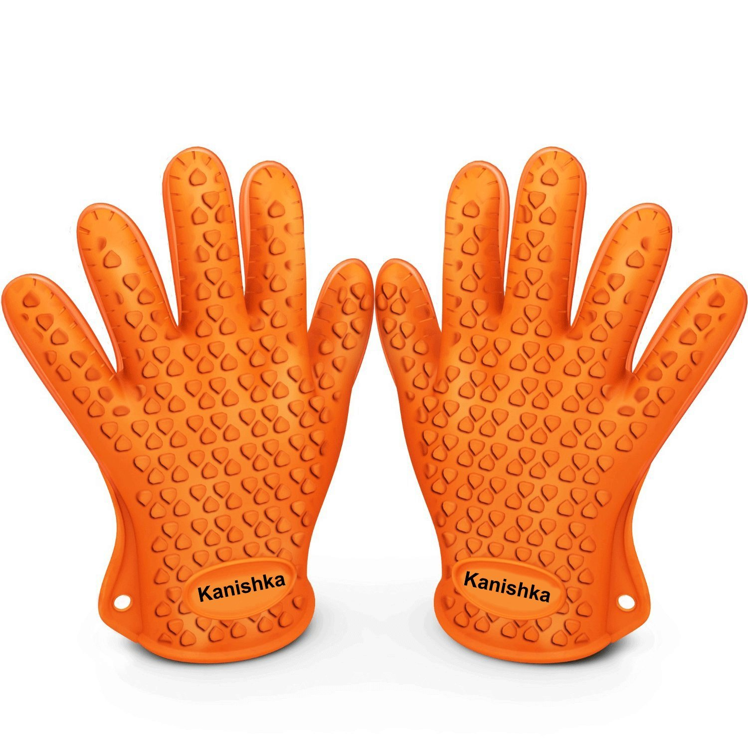 Heat Resistant Silicone Gloves for Cooking Offer Unrivaled Quality - Perfect for Inside and Outside Bbq Grilling. Protects From Unsafe and Painful Burns. Your Vital Protection for High Temperatures and More Competent Than Potholders. Stretchy, Versatile, and Plotted with a Superb Grip, Water-resistant, Dishwasher Safe, and Overtakes Oven Mitts & Any Other Related Product. (Orange)