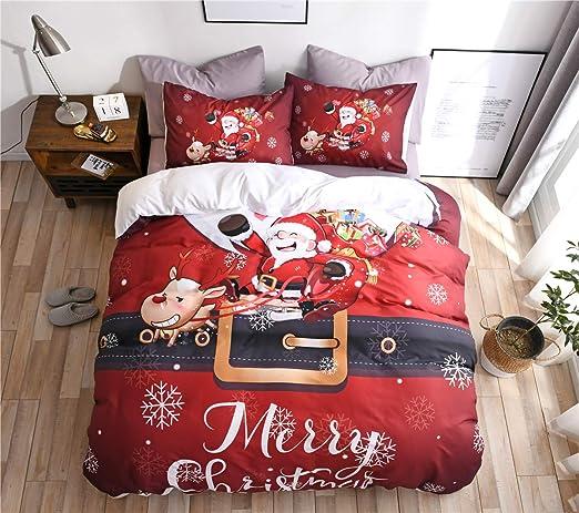 Kids Christmas Duvet Set Reindeers Single Red Bedding Duvet Festive Set Bedding Duvet Covers Bedding Sets