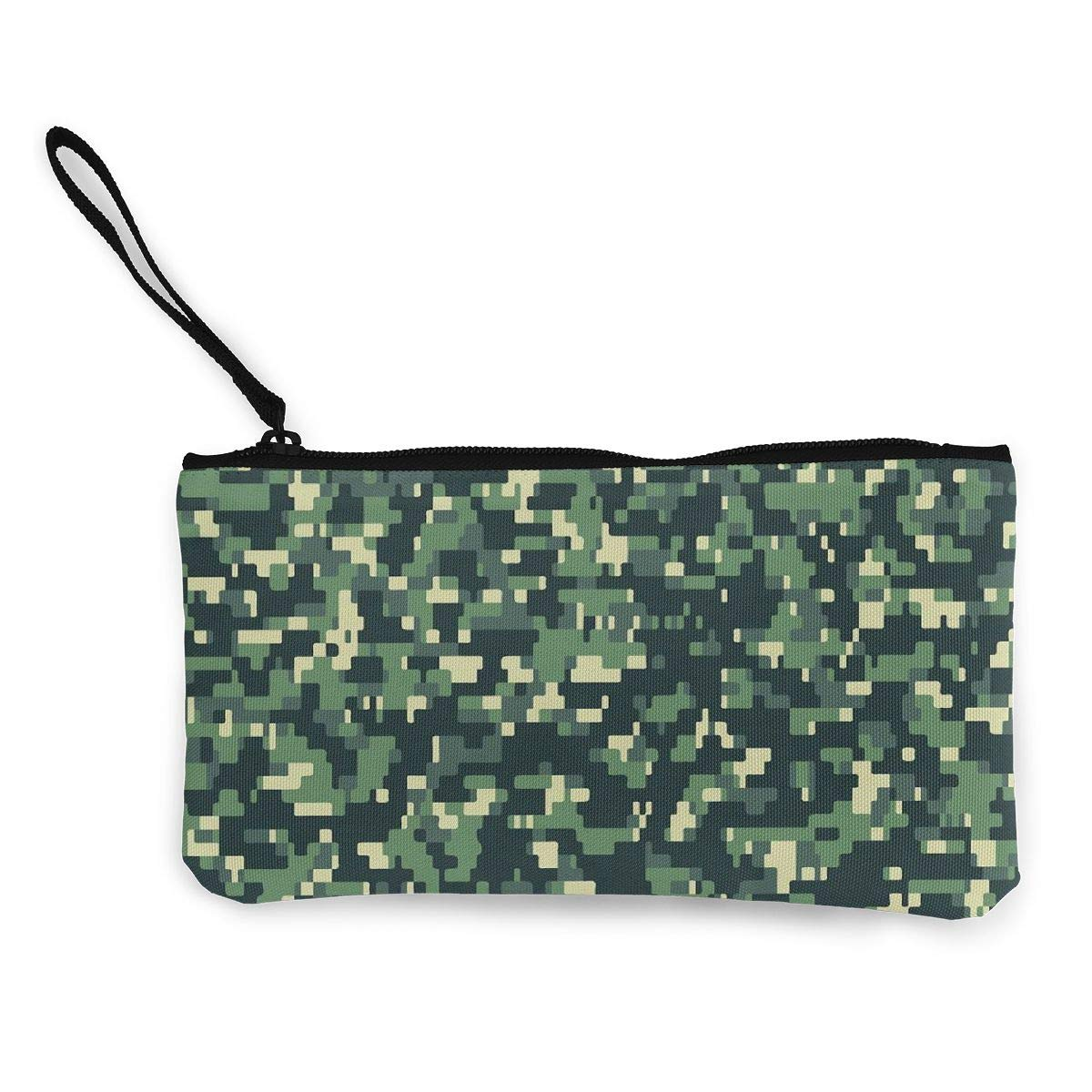 YUANSHAN Multicam Camouflage Pattern Unisex Canvas Coin Purse Change Cash Bag Zipper Small Purse Wallets with Handle