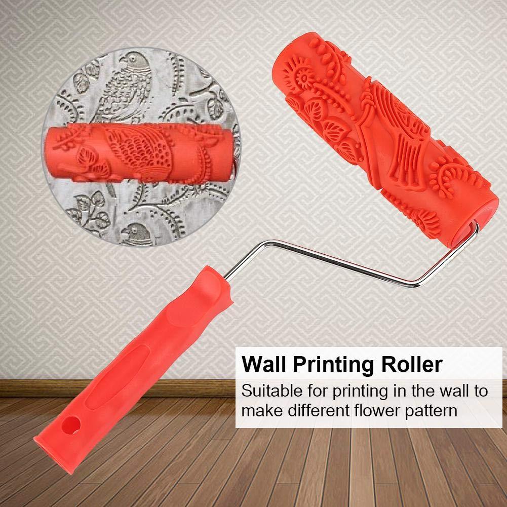 GLOGLOW 7 inch Rouleau de Peinture Caoutchouc gaufrage Texture Mur Impression Brosse Relief Outil Rouleau avec Poign/ée D/écoration Murale Empaistic