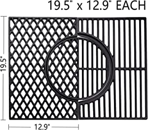 X Home 7524 Cooking Grates for Weber Genesis 300 Series, Upgraded 3-in-1 Cast-Iron Grill Sear Grate with Gourmet BBQ System - 19.5 x 12.9 inch