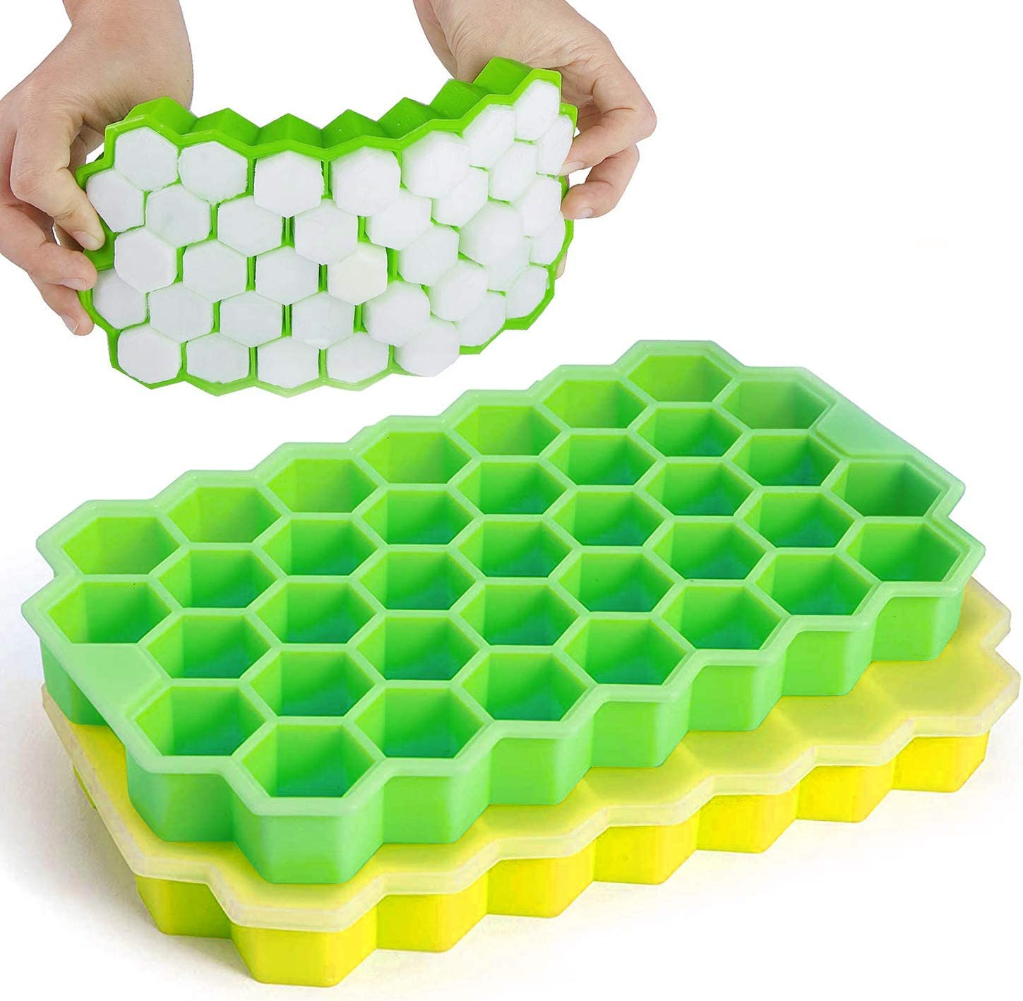 Ice Cube Trays, 2 Pack Silicone Ice Trays with Covers, BPA Free Flexible Ice Trays with Removable Lid, Honeycomb Shaped Ice Molds Creates 74 Ice Cubes for Chilled Drinks