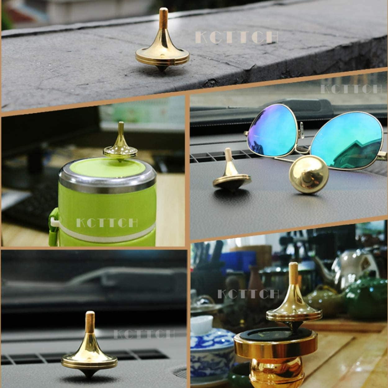 Metal Toy Gyro,The Perfect Balance Between Performance and Beauty-Continue to Rotate for More Than 4 Minutes KCTTCH Luxury Pure Copper Spinning Top Gold