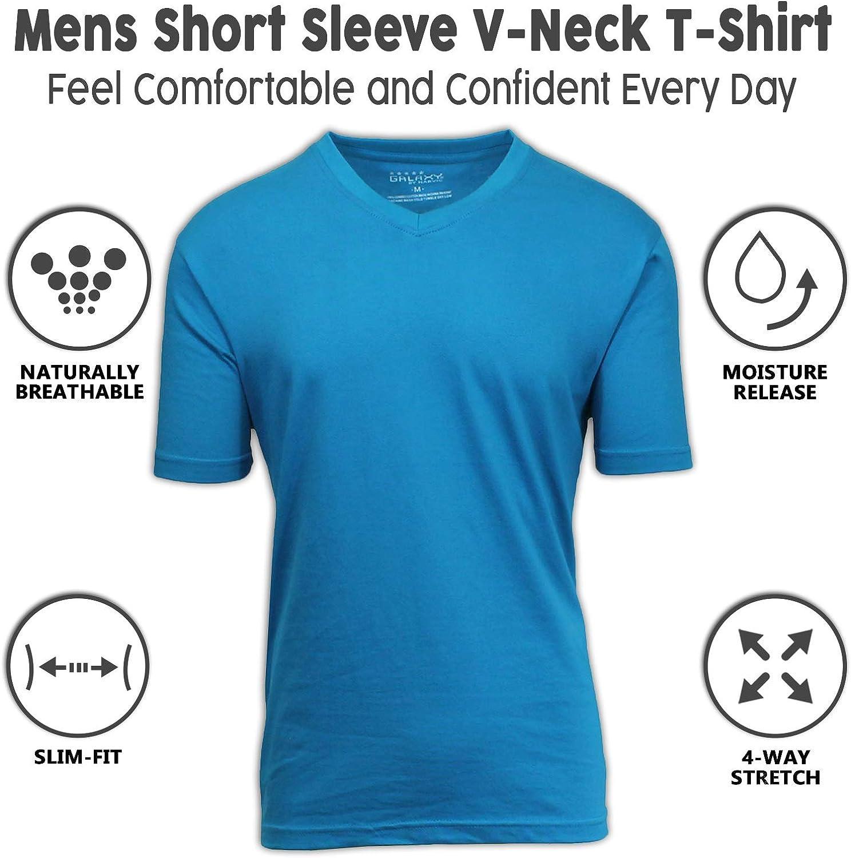 Men/'s Ribbed Stretch V Neck Gym T-shirt Short Sleeve Stretch Cotton Green M /& L