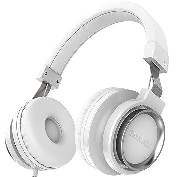 61b76bc447f Chououkiu Over-Ear Headphones Estéreo con Cable Ligero Diadema Portátil  Ajustable Auriculares con Micrófono para iPhone iPad Android Smartphones  Tablet ...