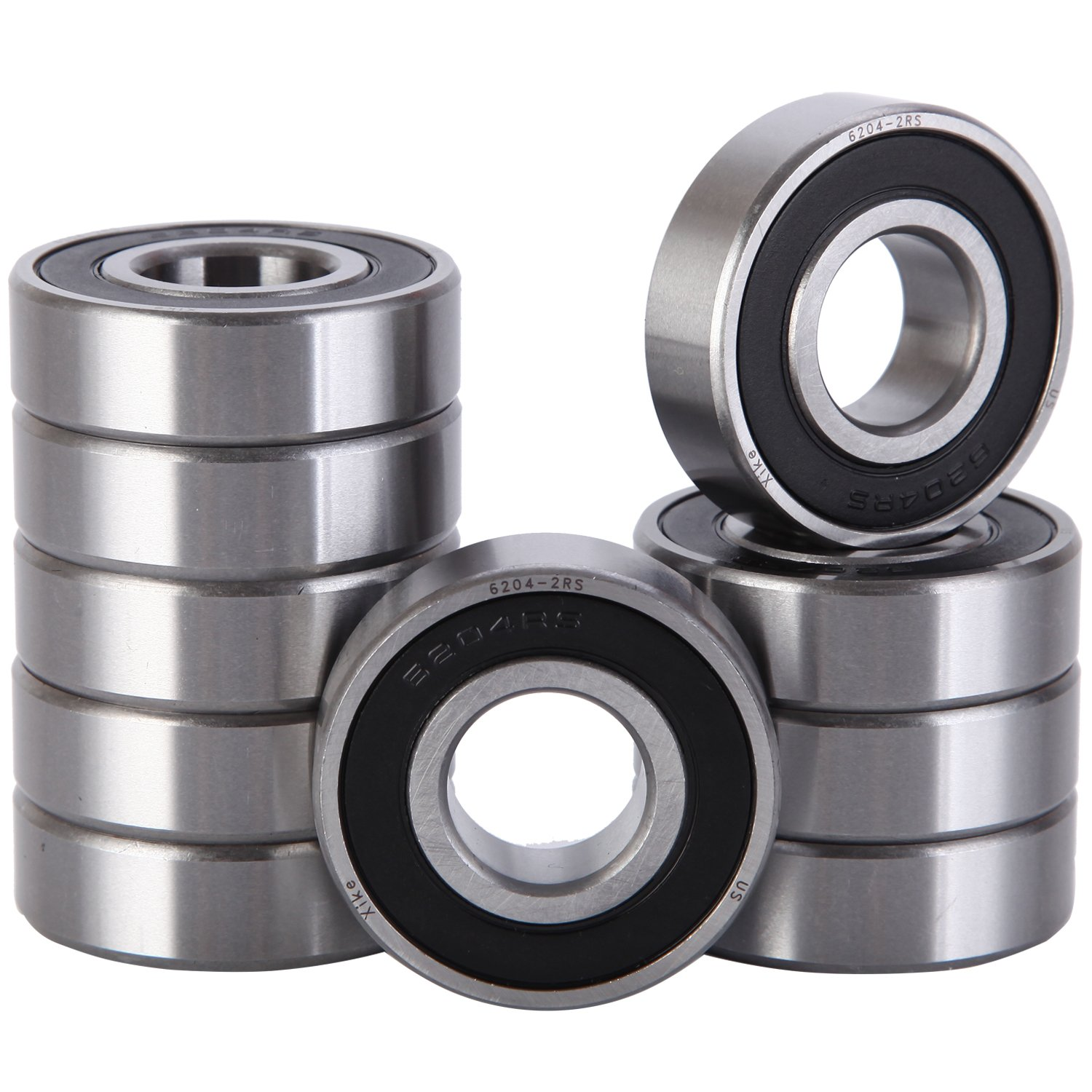 XiKe 10 Pack 6204-2RS Bearings 20x47x14mm, Stable Performance and Cost-Effective, Double Seal and Pre-Lubricated, Deep Groove Ball Bearings.