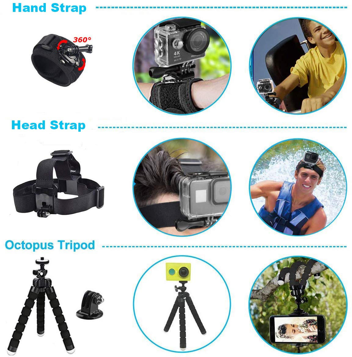 Uniqueen Gopro Hero 5 6 7 Zubeh/ör wasserdichte Schutz Geh/äuse Handschlaufe Fahrradhalterung Brustgurt Saugnapf