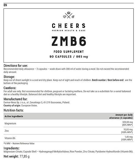 Suplemento de magnesio por Cheers - ZMB6 - Citrato de magnesio altamente absorbible con zinc y vitamina B6 - NO GMO, libre de soja - 90 cápsulas veganas ...