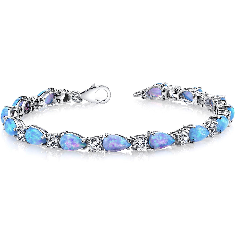 7.00 Carats Created Blue Opal Tennis Bracelet Sterling Silver Tear Drop