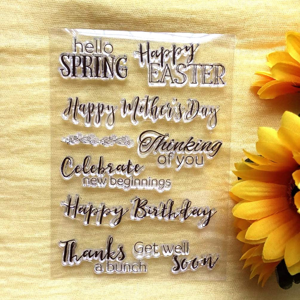 GAOZONGTER Words Happy Birthday Happy Mother's Day Clear Stamps for Card Making DIY Scrapbooking Silicone Stamps Transparent Stamps Album Photo Decor
