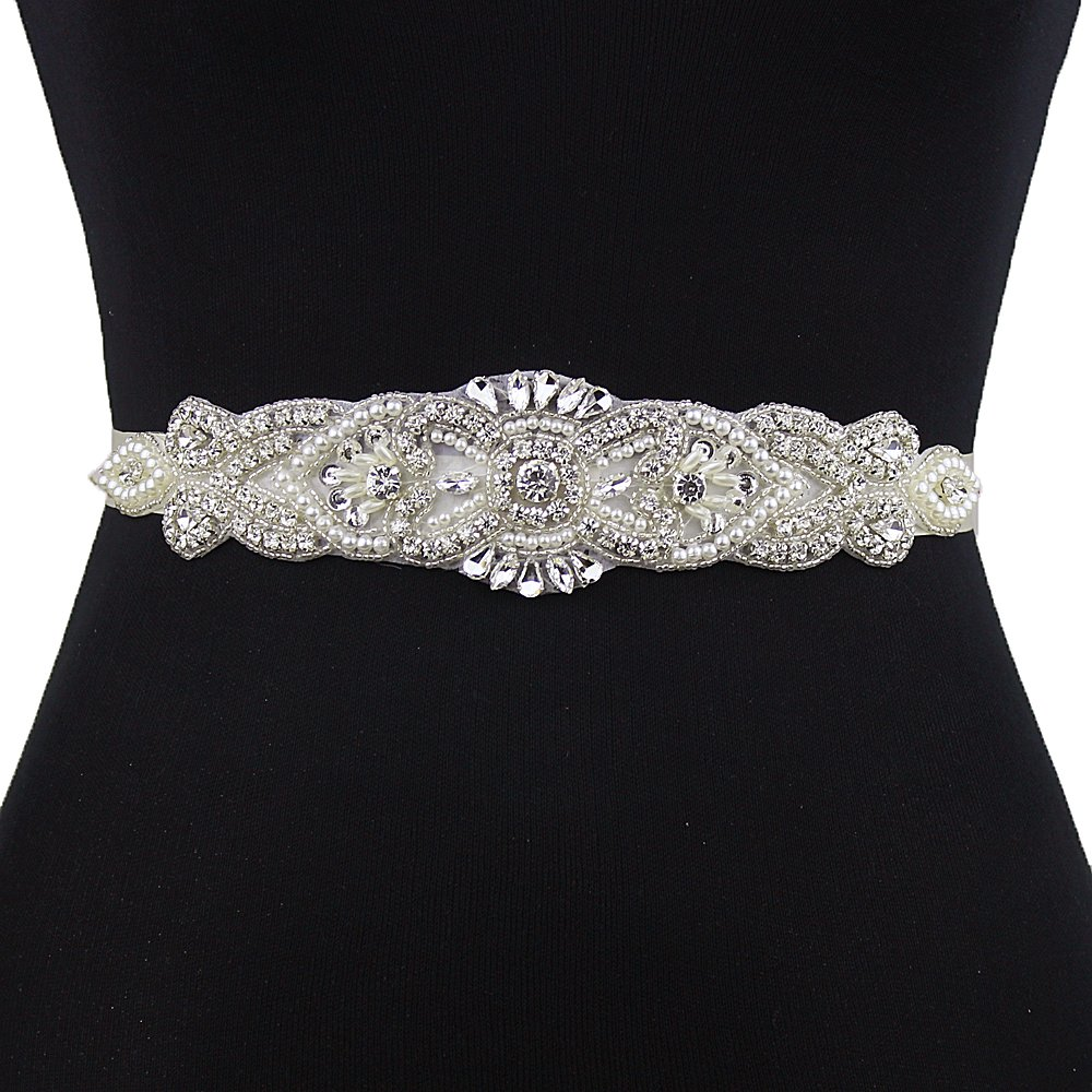 Top Queen Women's Sash Style Diamond Beaded Bridal Sashes Belt Wedding Belts Sashes for Wedding (Champagne)