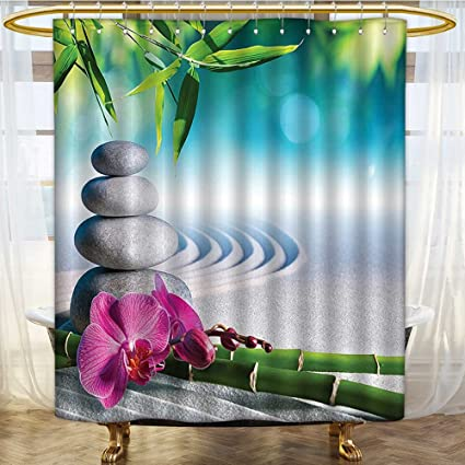 Bathroom Shower Curtain Sand Orchid And Massage Stones In Zen Garden Sunny Day Meditation Water