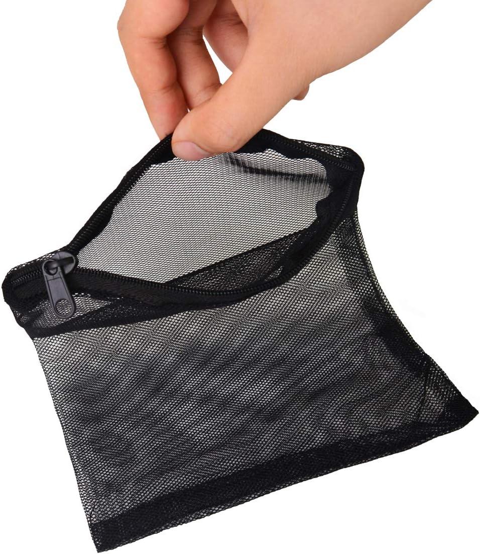 Black Bleiou 20 Pack Aquarium Media Bags Filter Bags with Zipper Nylon Mesh Media Bags Fish Tank Bangs for Activated Carbon Charcoal Ceramic Rings