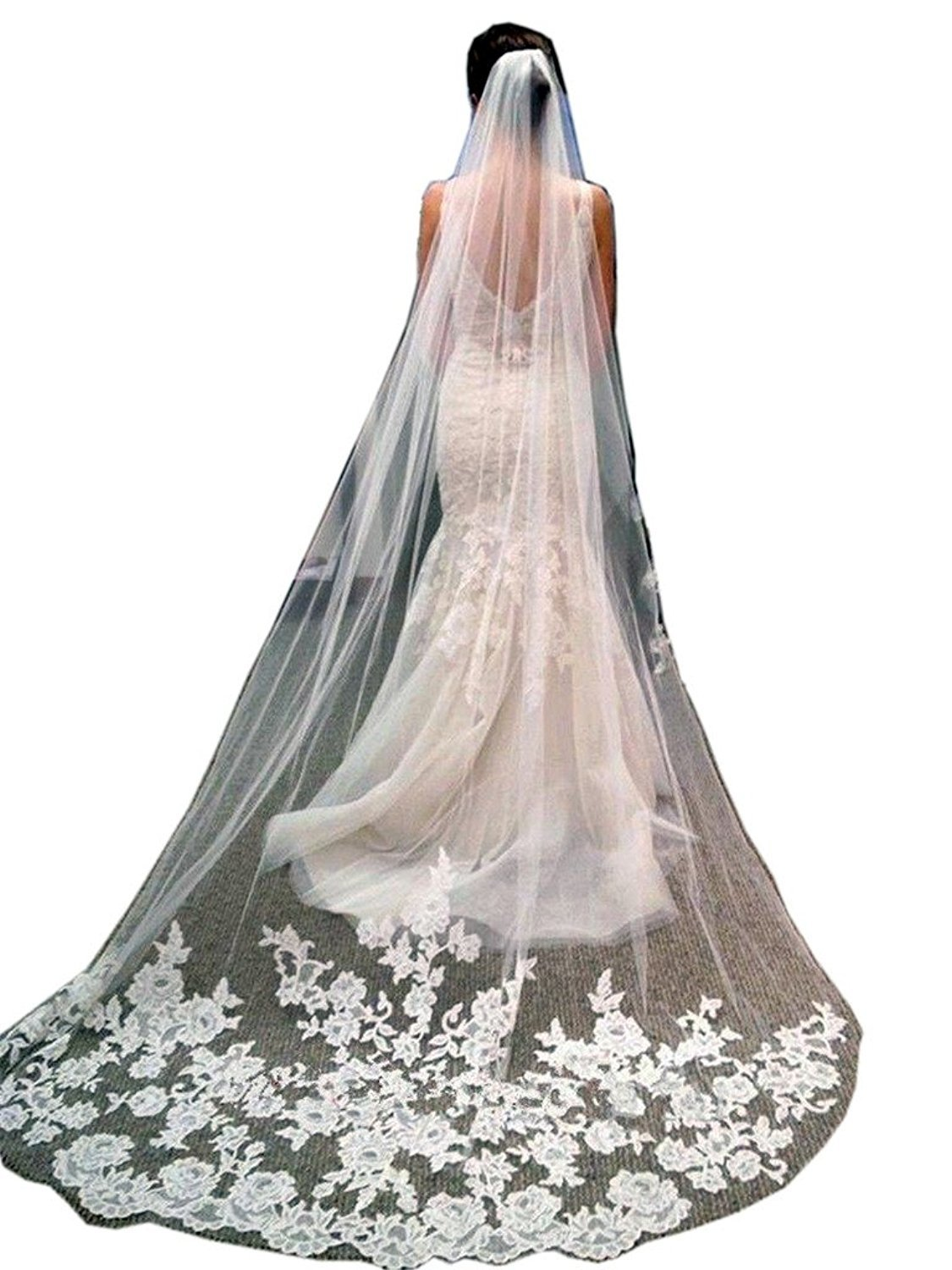 Doragrace 3 Meters Long Lace Applique Edge Wedding Veils Bridal Veil