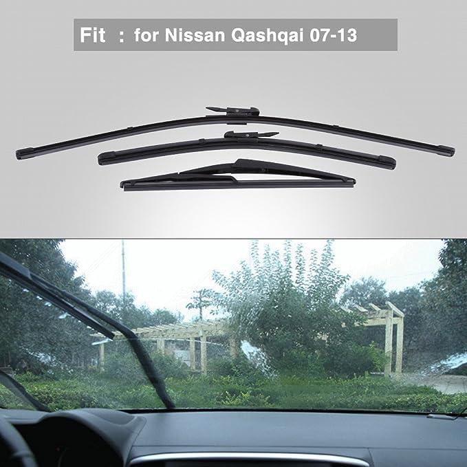 Qiilu Coche Limpiaparabrisas de Parabrisas delantero trasero 24/16/12 Pulgada para Nissan Qashqai 2007-2013: Amazon.es: Electrónica