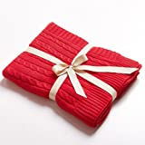 """NTBAY 100% Cotton Cable Knit Throw Blanket Super Soft Warm Multi Color(51""""x 67"""", Christmas Red)"""