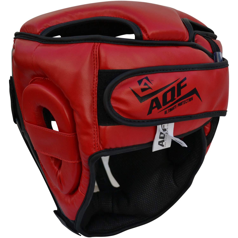 Karate MMA Taekwondo Kickboxing Muay Thai AQF Boxing Headguard MMA Training Headgear Muay Thai Removeable Grill Protection Guard Sparring Helmet for Martial Art