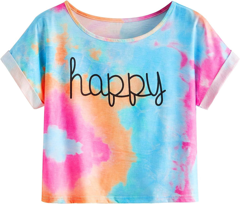 SweatyRocks Women's Short Sleeve Tie Dye Letter Print Crop Top T Shirt