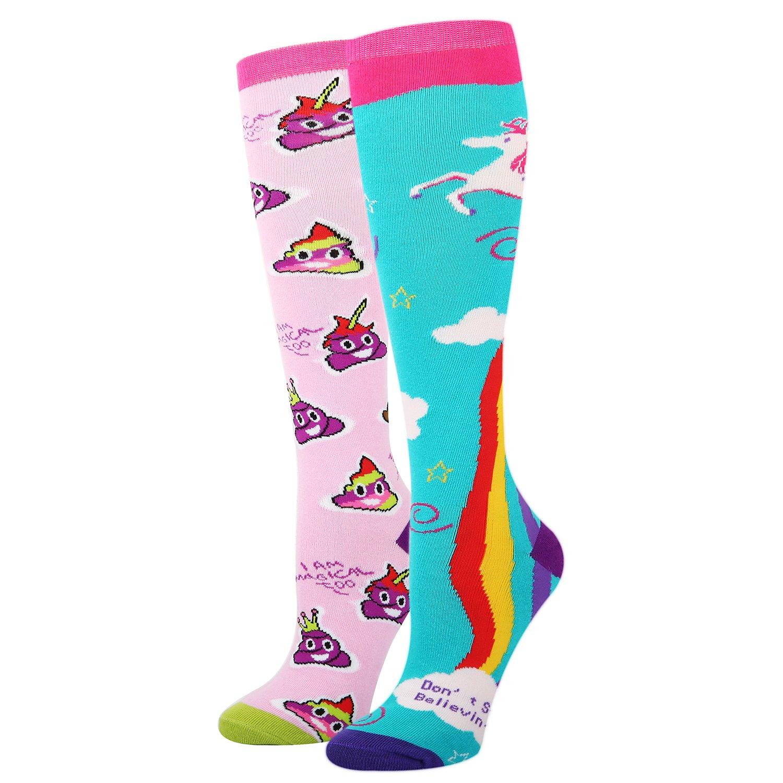 Women's Novelty Rainbow Unicorn Poop Emoji Over the Calf Socks,Crazy Funny Knee High Socks,Boot Socks for Girls 2 Pack Gift Box