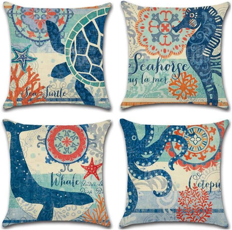 ULOVE LOVE YOURSELF Ocean Theme Square Pillow Case Mediterranean Style Decorative Cotton Linen Throw Coastal Cushion Cover Sets 18 X 18 Inch Pillow Covers, 4 Pack Nautical Pillow Covers (Sea Theme-2)
