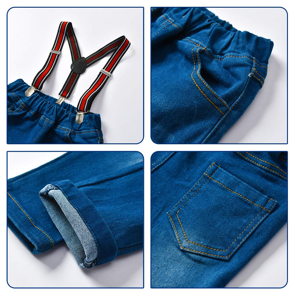 Nwada Little Boys Clothes Sets Bow Ties Shirts Suspenders Pants Denim Jeans Toddler Boy Gentleman Outfits Suits