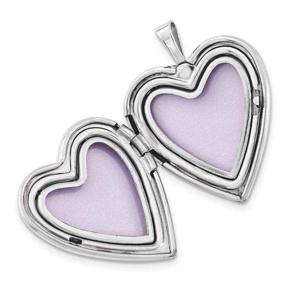 Jewel Tie Sterling Silver 20mm Satin /& Polished Paw Prints Heart Locket