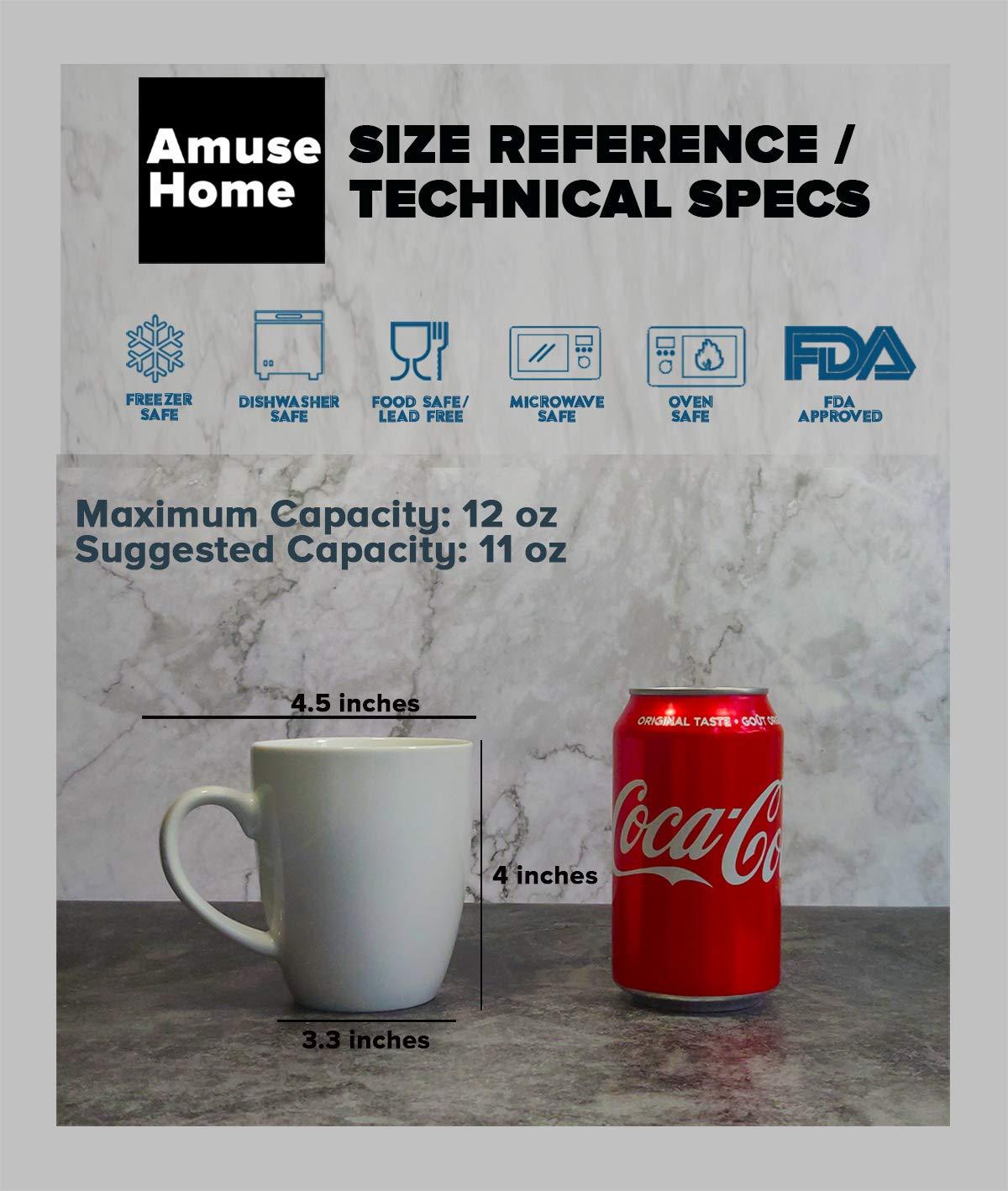 Amuse- Professional Barista''Cozy Collection'' Mug- Set of 6 (Medium - 12 oz.) by Amuse Home