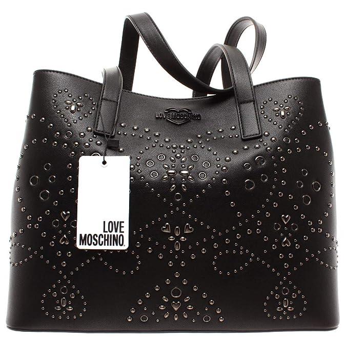 308f842c4b Love Moschino Borse Donna Spalla JC4124PP17LR0000 Borsa PU Nero Galv Nero  Nuovi: Amazon.it: Abbigliamento