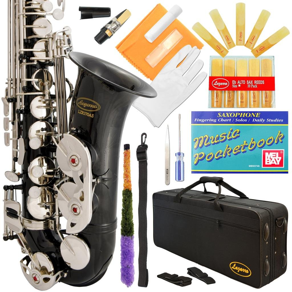 Lazarro 370-BK E-Flat Eb Alto Saxophone Black-Silver Keys with Case, 11 Reeds, Care Kit and Many Extras